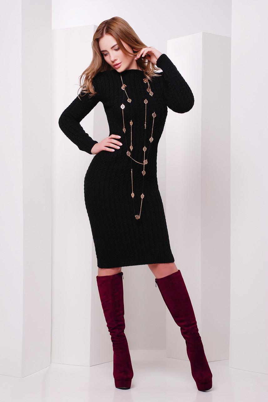 Платье вязаное черное размер единый 42-46
