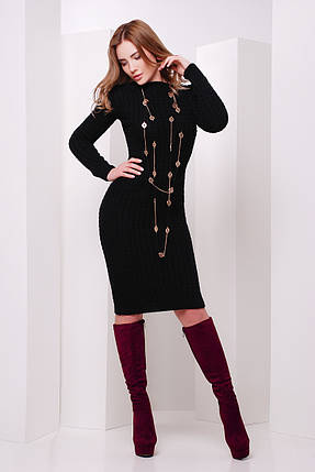 Платье вязаное черное размер единый 42-46, фото 2