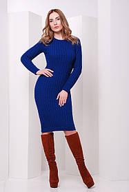 Платье вязаное цвета электрик синее размер 42-46