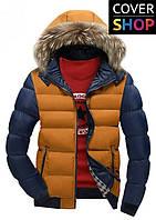 Зимняя куртка Winter Style, темно-синий с оранжевым, материал-полиестер, утеплитель - хлопок+синтепон