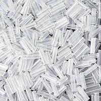 Бисер Китайский Стеклярус, Прозрачный, Перламутровый, Цвет: Белый, Длина: 6,5 - 7мм, Отв. 0,8мм, упаковка 450г, (УТ100008975)