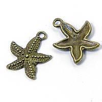 Кулон Морская Звезда, Металл, Цвет: Бронза, Размер: 21x19x3мм, Отверстие 2мм, (УТ100008565)