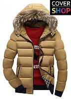 Мужская зимняя куртка Winter Style, цвет - кремовый, материал-полиестер, утеплитель - хлопок+синтепон