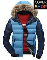 Куртка спортивная Winter Style, темно-синяя с голубым, материал-полиестер, утеплитель - хлопок+синтепон