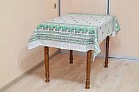 """Скатерть льняная 2.2м х 1.5м """"Орнамент (зеленый)"""" (раскладной стол)"""