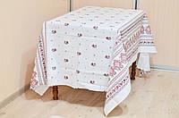 """Скатерть льняная  """"Орнамент"""" (белый) 1.8м х 1.5м (средний стол)"""