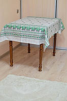 """Скатерть льняная  """"Орнамент"""" (зеленый) 1.8м х 1.5м (средний стол)"""