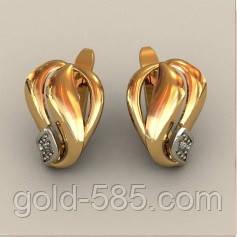 983c3cd54e5c Нежные гладкие золотые серьги 585  пробы с Фианитами - Мастерская ювелирных  украшений «GOLD-
