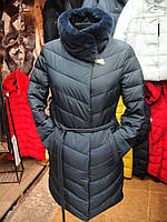 Пуховик зима женский с натуральным мехом воротник и капюшон р.S-2XL (42-50)