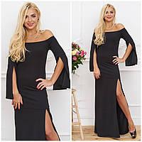 Длинное черное платье в пол с разрезом и рукавами