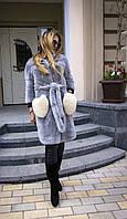 Шуба из меха Rex Rabbit серая с карманами накладными IF 060