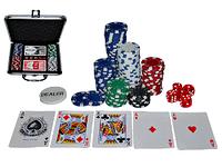 """""""TEXAS HOLDEM"""" 100 Набор для игры в покер, в кейсе (набор: 2 колоды карт, 100 фишек, 5 кубиков, 1 фишка дилера"""