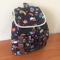 Стильный тканевый городской рюкзак с принтом