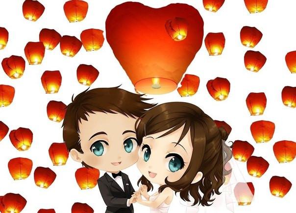 """Небесные фонарики """"Свадебный набор 20"""" Сердца"""