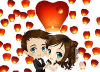 Небесные фонарики SKY сердца свадебный набор 20 шт, фото 1