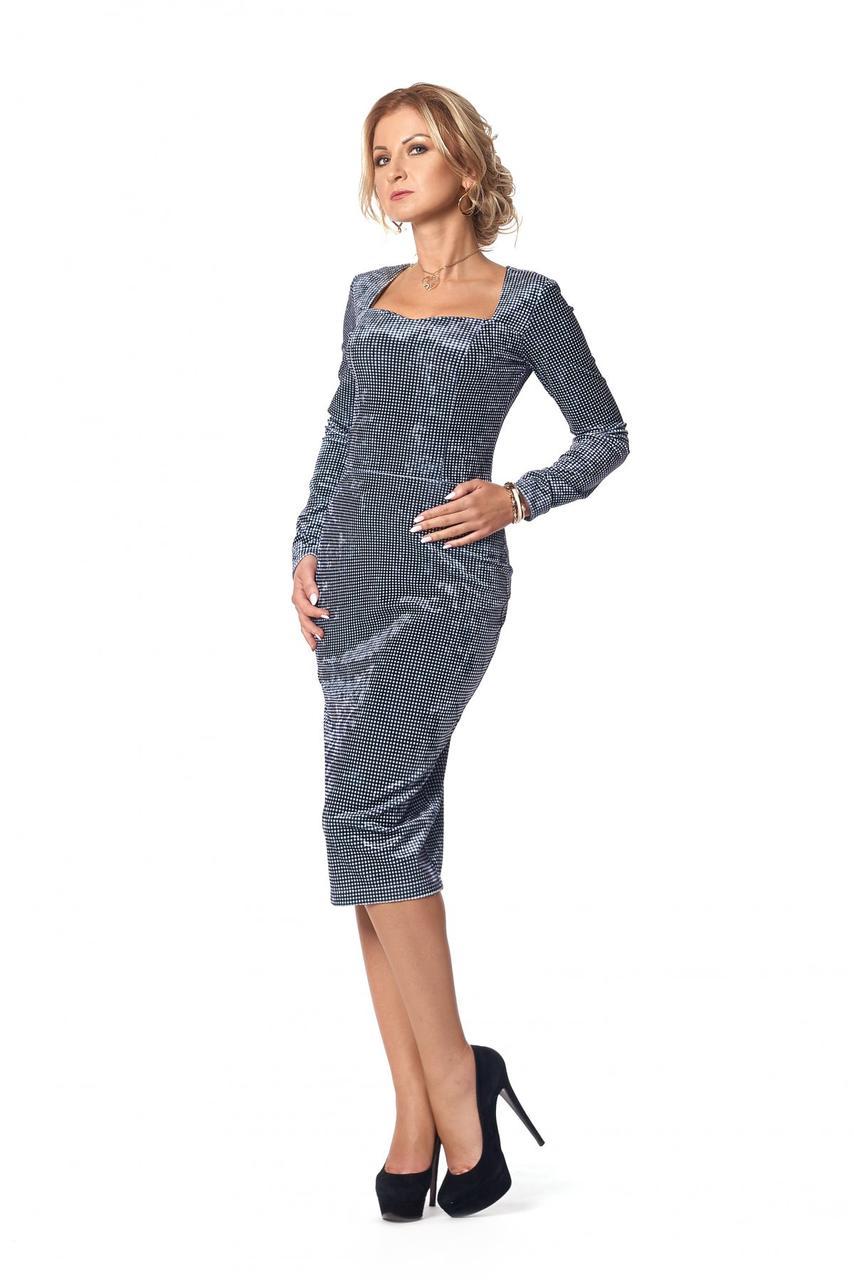 Женское нарядное платье из бархата 1008 цвет темно синий размер 42,44