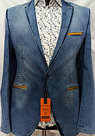 Джинсовый мужской пиджак на одну пуговицу Sokol