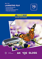 Пленка для ламинирования глянцевая buromax bm.7722 a4 75 мкр 216x303мм 100 штук