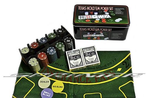 Покер 200 фишек в металлической коробке. Р200