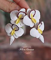 """Авторские серьги """"Белые орхидеи с бордовым ободком и бутонами"""" цветы из полимерной глины, фото 1"""