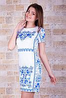 Летнее белое облегающее мини-платье с орнаментом Гжель