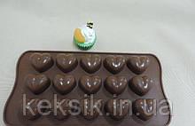 Форма для конфет Сердечки закругленные 15 шт