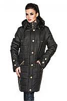 Классическая удлиненная демисезонная куртка прямого покроя с прорезными карманами черного цвета
