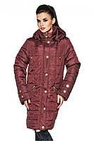 Классическая удлиненная демисезонная куртка прямого покроя с прорезными карманами бордового цвета