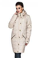 Классическая удлиненная демисезонная куртка прямого покроя с прорезными карманами бежевого цвета