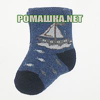 Детские махровые носки р. 56-62 для новорожденного 95% хлопок 5% эластен ТМ Ромашка 3828 Синий