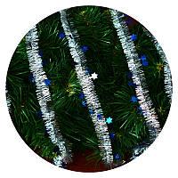Дождик (мишура) со звездочкой 2,5 см (серебряный/ синяя звездочка), фото 1