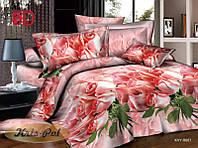"""Нежное постельное бельё """"Розовые розы"""". Семейное."""