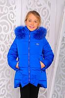 """Куртка детская для девочки """"Бант"""" электрик. Зима."""