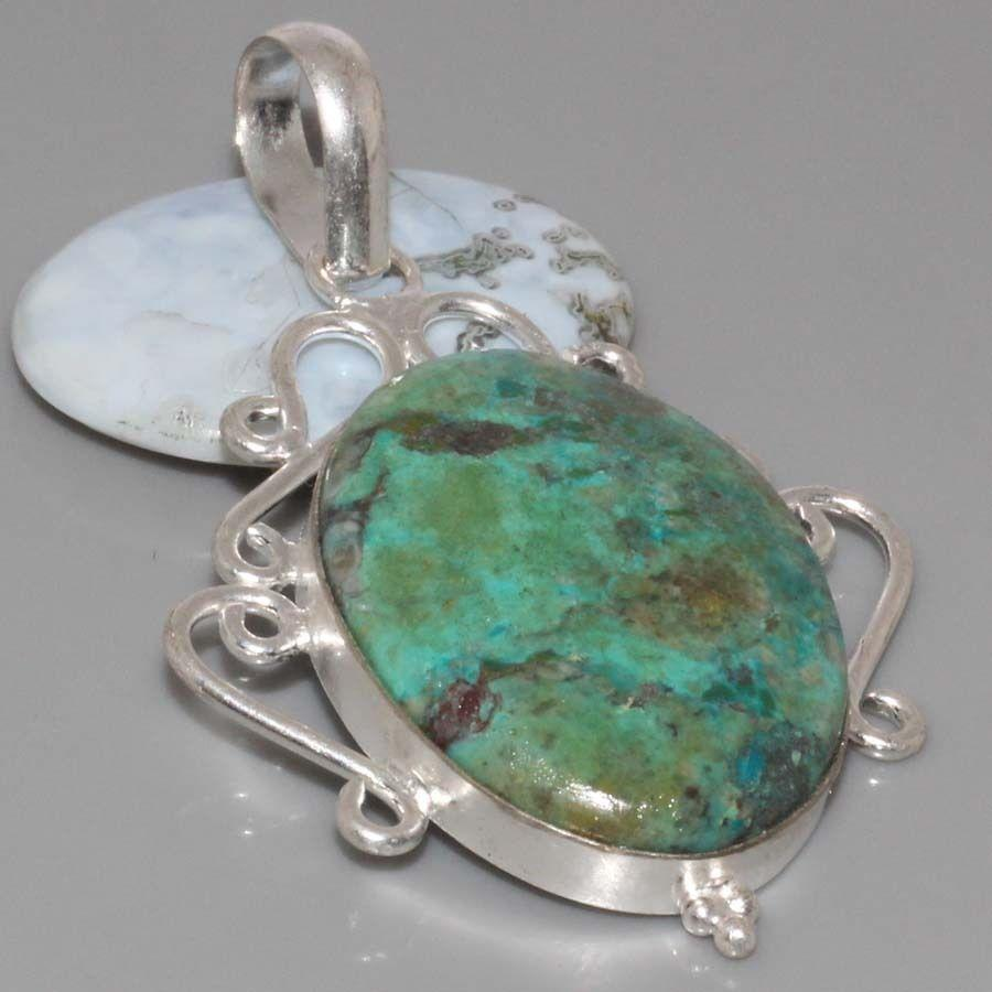 Красивий кулон з каменем хризоколла в сріблі.