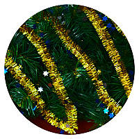 Дождик (мишура) со звездочкой 2,5 см (золотой / синяя звездочка)