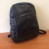 Молодежный городской рюкзак черный эко кожа