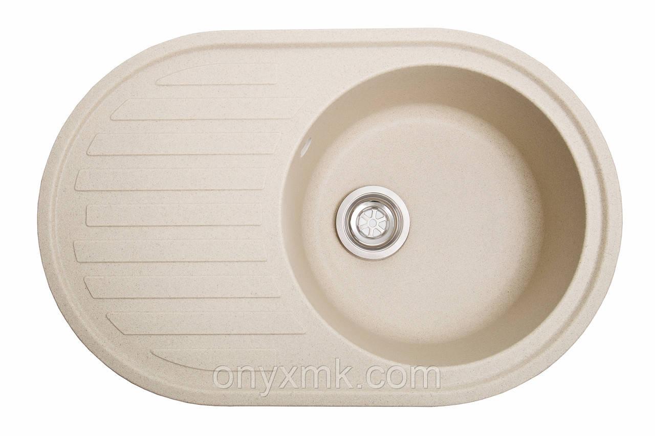 Овальная кухонная мойка с крылом бежевая