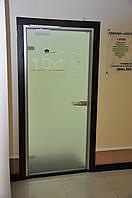 Стеклянные двери в алюминиевой коробке с доводчиком, фото 1
