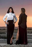 Женская бархатная юбка с высоким разрезом OMNIA