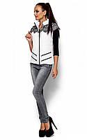 Жіноча білий жилет прикрашений гіпюром Likata