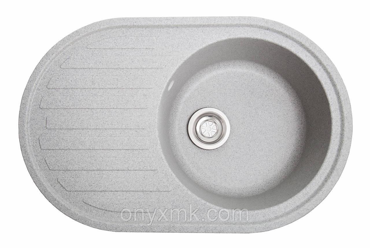Овальная кухонная мойка с крылом серая