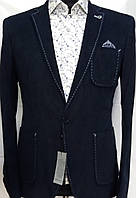 Мужской пиджак насыщенного синего цвета с накладными карманами Paul Dias