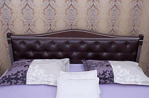 Кровать деревянная с мягким изголовьем и изножьем Прованс Микс мебель, цвет темный орех / венге + патина, фото 2