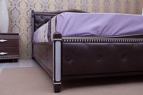 Кровать деревянная с мягким изголовьем и изножьем Прованс Микс мебель, цвет темный орех / венге + патина, фото 3
