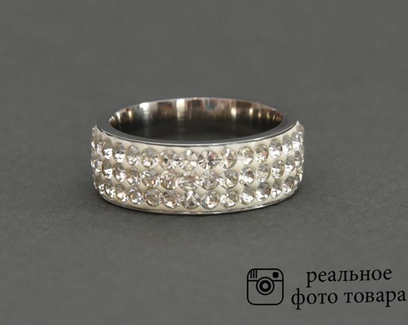 Женское кольцо из стали со стразами Размер 18 (810216) - Интернет-магазин Uexpres.com в Киеве
