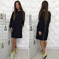 Черное  платье из трикотажа-двунити с боковыми карманами