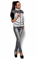 Жіноча сірий жилет прикрашений гіпюром Likata