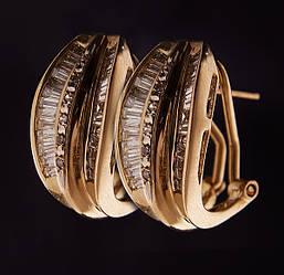 Женские серьги из желтого золота с бриллиантами С32Л1№13