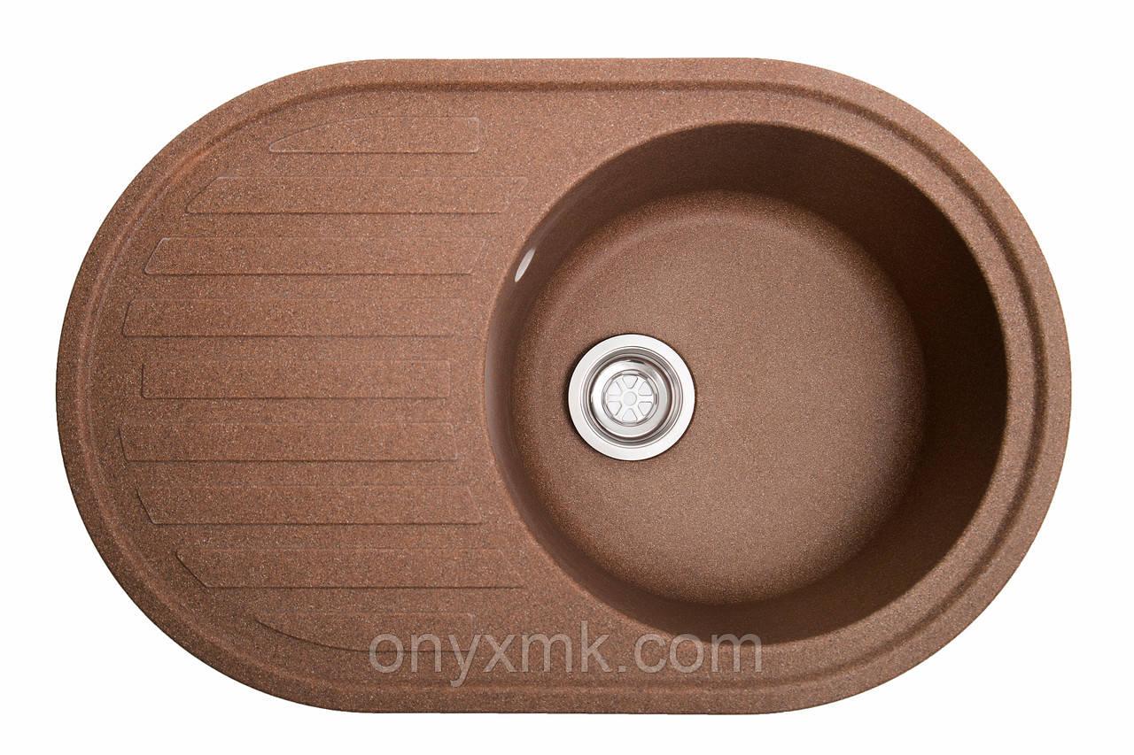 Овальная кухонная мойка с крылом коричневая