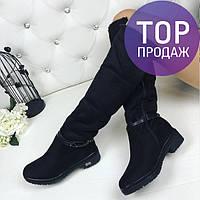 Женские зимние ботфорты на низком каблуке, замшевые, черные / ботфорты  женские с ланцюжком, теплые, стильные